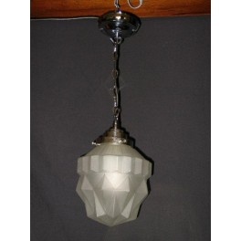 Geometric frosted glass French ceiling fixture with original mount