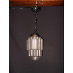 Pair of good French frosted glass stepped cylinder fixtures