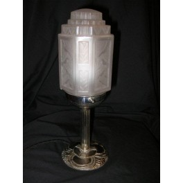 Small French Art Deco table lamp with square section oblong shade