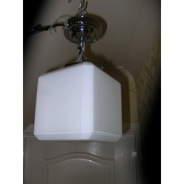 large white Modernist cube ceiling fixture