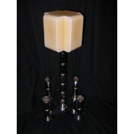 A Monumental, Rare Heavy chrome table centre piece lamp, with (4) spill vase, yellow cross cube shade