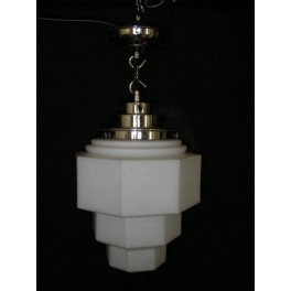 Good French hexagonal section stepped white glass ceiling fixture with original fittings