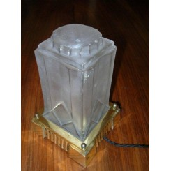 A very good French Art Deco Square section brass table lamp with geometric decoration