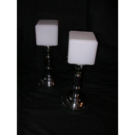 Pair of French Art Deco table lamps with white cube shades