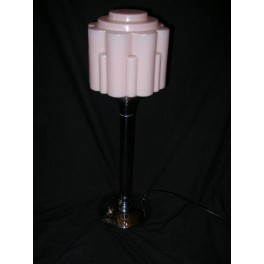 Large French Modernist chrome table lamp with stepped pink cylinder shade