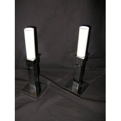 Exceedingly rare matched pair of chrome & glass Modernist table lamps  (Attributed to Jacques Adnet)