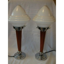 Very rare matched set of 2 Catalin & chrome table lamps with white acorn shades