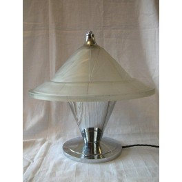 ( SOLD ) Superb Modernist chrome table lamp with cone shade by Jean Noverdy