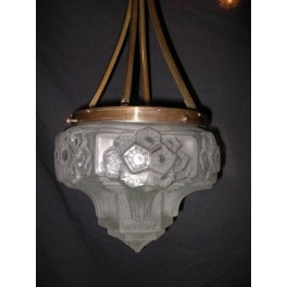 French good quality bronze fixture with superb glass shade by Muller Frere