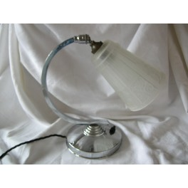 """""""C"""" shaped chrome table lamp with good tulip shade in frosted glass"""