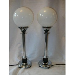Pair of chrome and black American table lamps with small globe shades