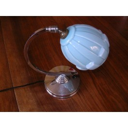 """French chrome """"C"""" shaped table lamp with blue bell shaped shade"""