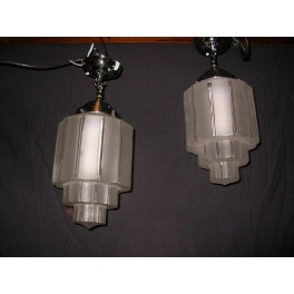 Pair of Stepped Cog Design Frosted Glass Ceiling fixtures