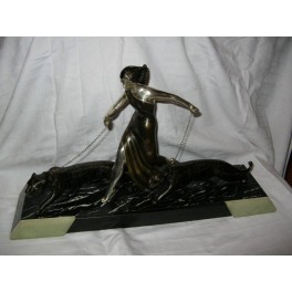 Superb Double Panther & Lady Spelter group on Marble base