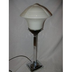 Exceptional large & heavy French Art Deco table lamp with superb white shade