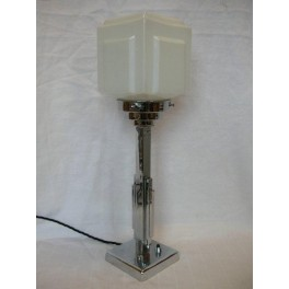 Good chrome Modernist table lamp with white stepped cube shade
