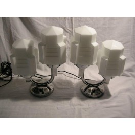 """Pair of French Modernist """"U"""" shaped 2 Arm Table lamps with white cube shades"""