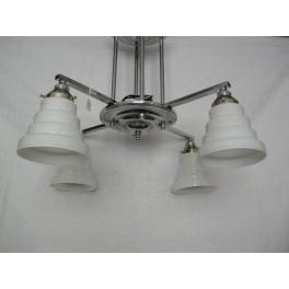 Good Chrome 4 Arm Short Ceiling Fixture with white stepped cone shades