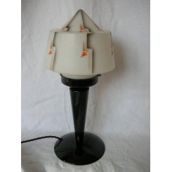 Excellent & rare English Art Deco Bakelite table lamp withfabulous shade