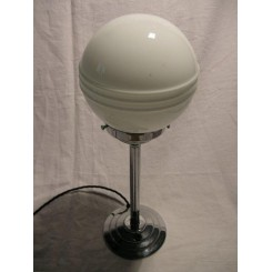 "Round based English chrome Art deco table lamp with white ""Saturn"" shade"