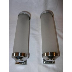 Lovely pair of small chrome & glass tube wall lights