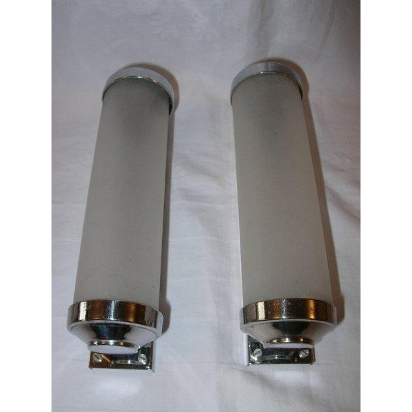 Small Led Wall Lights : Lovely pair of small chrome & glass tube wall lights - Deco Dave