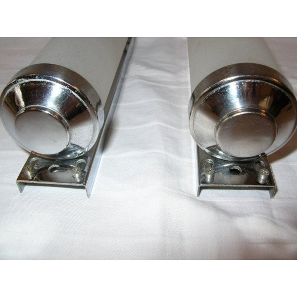 Small Chrome Wall Lights : Lovely pair of small chrome & glass tube wall lights - Deco Dave