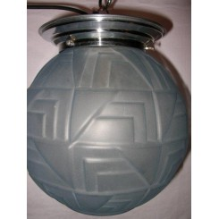 French blue glass fixture with geometric decoration