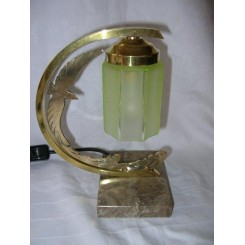 """Excellent small French brass """"C"""" shaped table lamp with seagull decoration"""