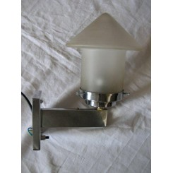 Modernist chrome vintage Wall Light with very unusual frosted shade