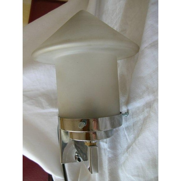 Small White Wall Lights : Modernist chrome vintage Wall Light with very unusual frosted shade - Deco Dave