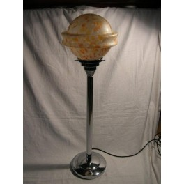 Very Large dome based Chrome Art Deco table lamp with mottled yellow Saturn shade