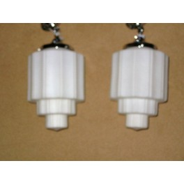 Pair of French Modernist cog design white glass & chrome ceiling fixtures