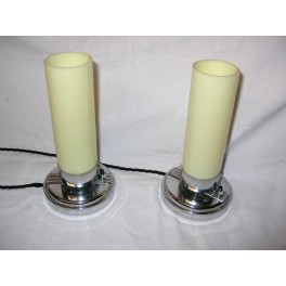 Pair of yellow tube & chrome French Modernist table lamps