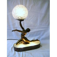 Superb Art Deco spelter kneeling lady lamp By Balleste mounted on an illuminated base