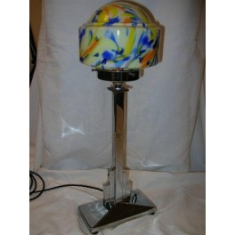 Oblong stepped base table lamp with wonderful multi-coloured globe shade