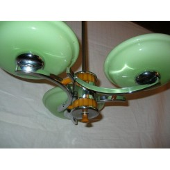 Excellent chrome & orange Catalin 3 branch fixture with green shades