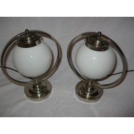 Pair of nickel step based ring table lamps with white globe shades