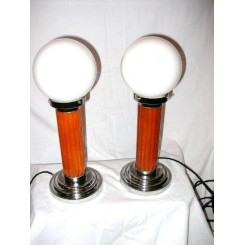 Excellent pair of orange Catalin & chrome table lamps with white globe shades