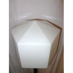 Unusual hexagonal shafted standard lamp on cruciform base with large white hexagonal shade