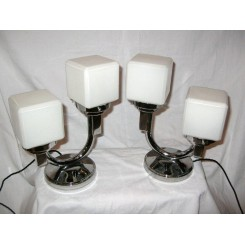 Excellent pair of U shaped chrome table lamps with cube shades