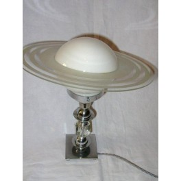 Very unusual French Saturn ring table lamp by George Humbert