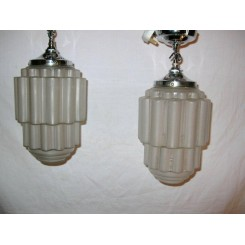 Good pair of French Art deco stepped cylinder ceiling fixtures
