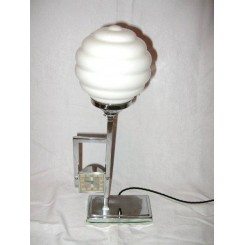 Wakelite chrome table lamp with square shaped clock