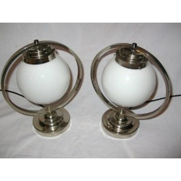 Lovely pair of French nickle plate ring table lamps on stepped round bases ( matching ceiling light available)