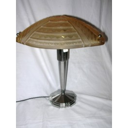 ( SOLD ) Large French table lamp by Jean Noverdy with amber shade
