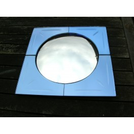 Small Blue/Salmon Convex and Flat wall Mirror