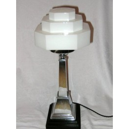 Large Chrome shafted stepped wooden base Table Lamp on White stepped glass shade