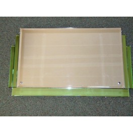English Landscape type green and clear stepped Deco Mirror