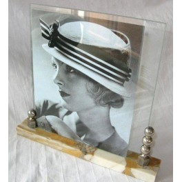 Marble and chrome French photo frame